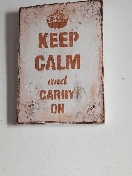 Cuadro Vintage Artesanal Keep Calm And Carry On