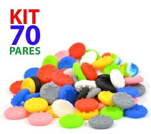 Kit 70 Pares Grip Silicone Boraccha Capa Analógico Xbox Ps4