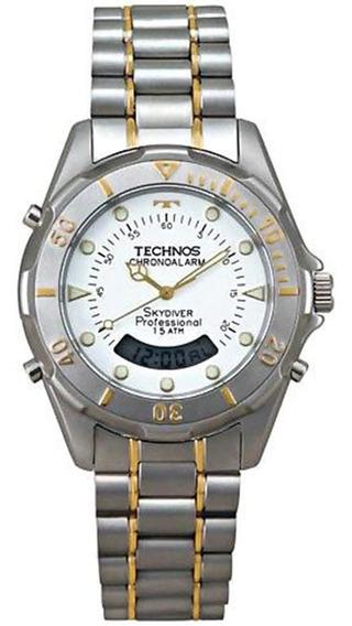 Relógio Masculino Aço Bicolor Skydiver Professional Technos