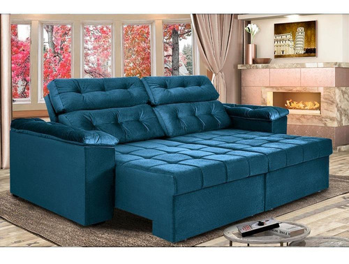 Imagem 1 de 8 de Sofá New Itália 2,72m Retrátil E Reclinável  Azul