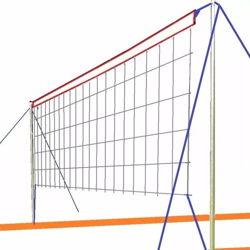 Cancha Futbol Tenis Voley Completa 8x4m Red Parantes Lineas - Sirve Para Cesped Y Arena