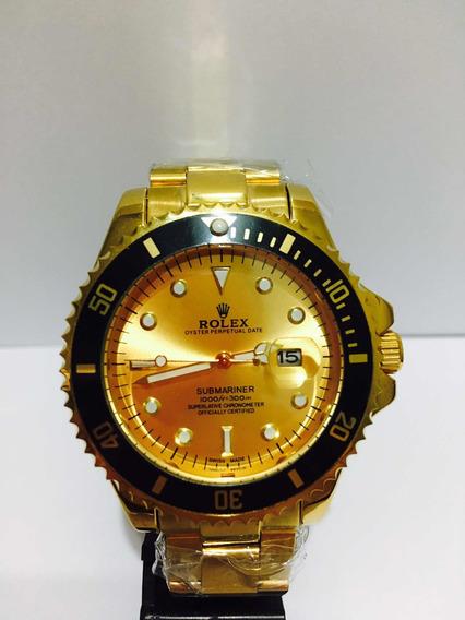 Relógio Submariner Gold Com Catraca Preta