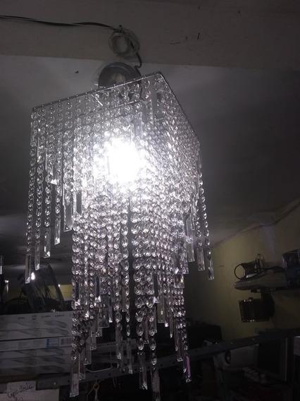 Lustre Inox Cristal Acririco Lampada Led Quadrado Degradê