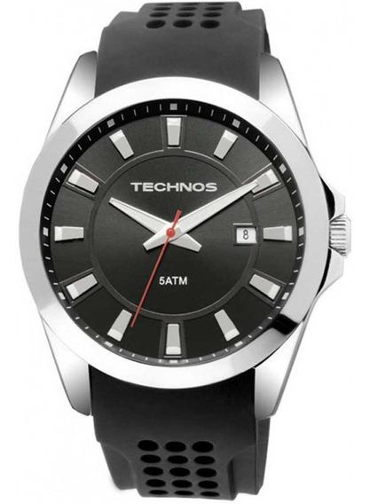 Relógio Masculino Technos Prateado 2315ka Robusto De Vitrine