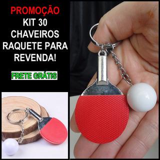 Chaveiro Raquete Ping Pong Metalico Lote Com 30 Unidades