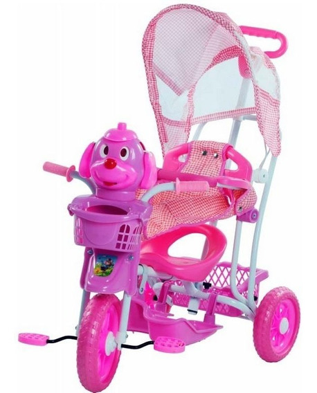Triciclo Infantil 3 Em 1 Empurrador C/ Capota Musica Menina