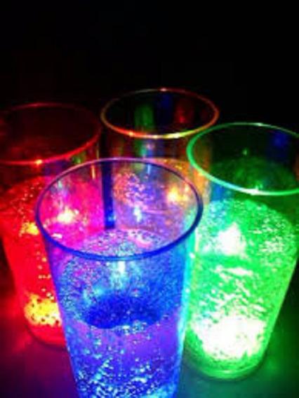 35 Vasos Luminosos Trago Largo Led Cotillon Fiesta C/boton