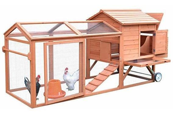 Pawhut 98 Portable Wooden Chicken Coop Wheels Outdoor Run ®