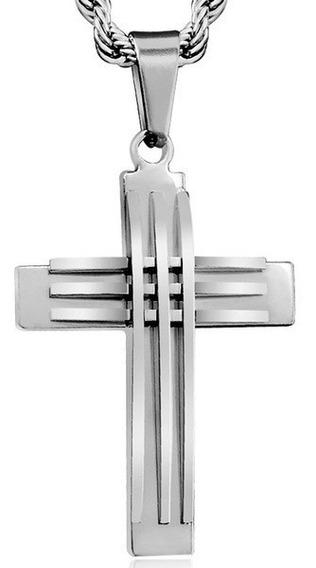 Cordão Grosso Grande Aço, Pingente Cruz Steel Stain F.grátis