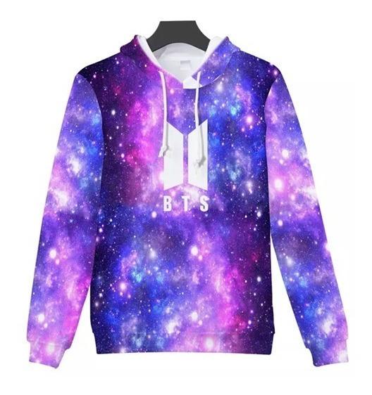 Moletom Canguru 3d Full Roupa Bts Galáxia Estrelas Unissex