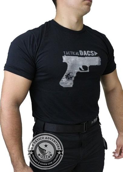 Camiseta Tática Airsoft Glock Preta Algodão Tactical Dacs