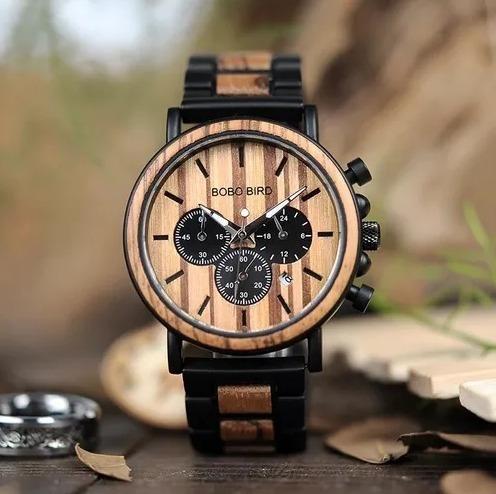 Relógio Artesanal Madeira Bambu Bobobird Original P09 Barato