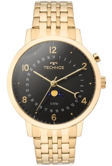 Relógio Technos Calendário Lunar Masculino Dourado 6p80ac/4p