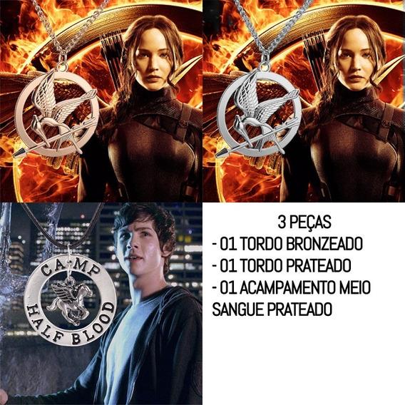 Kit 2 Colares Tordo Jogos Vorazes Prata Bronze Hunger Games