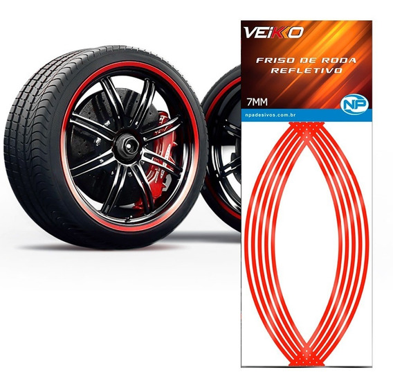 Adesivo Friso Fita Refletivo Roda Carro 7mm Vermelho Univer.