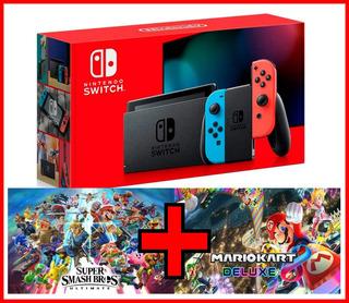 Nintendo Switch 2019 + Smash Bros Y Mario Kart Originales M3
