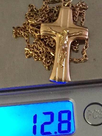 Colar Ouro 18k 12.8gr. 59cm.pingente Cruz 34mm.