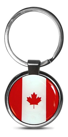 Chaveiro Premium Aço Cromado Canadá Vermelho E Branco