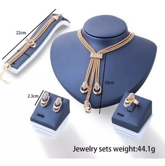 Clássicos De Luxo Banhado A Ouro Colar De Cristal Brincos Pu