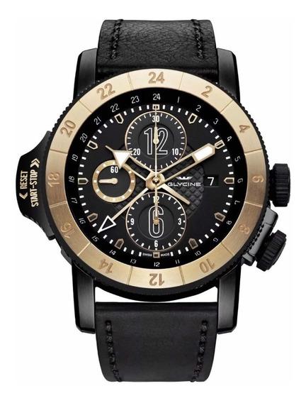 Relógio Glycine Airman Airfighter Moldura Em Ouro 18k Novo