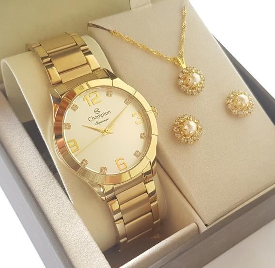 Relógio Champion Dourado Original Feminino + Colar E Brincos
