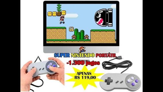 Super Nintendo Portátil Disco C/ Jogos + Controles Promoção