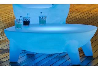 Mesa Centro Lounge Para Exterior Martinica Led Colores Solar