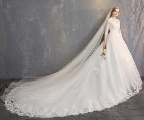 Nb57 Vestido Noiva Renda Princesa Gola Alta Evangelica Barat