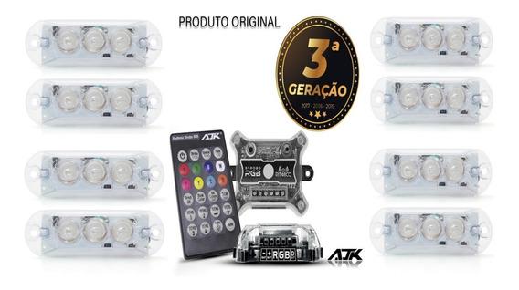 Kit Strobo Automotivo Ajk Vittro Led 8 Farois Rgb 8 Cores 3 Geração 143 Combinações Ritmo Da Musica