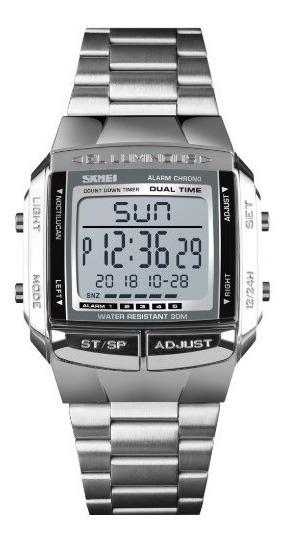 2 Relógio Skmei 1381 Digital Inox Unisex Retrô Quadrado