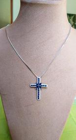 Colar Prata 925 Cruz/crucifixo Com Zircônias Azuis.