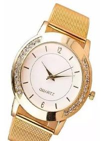 Promoção Relógio Dourado Feminino Quartz Com Caixa