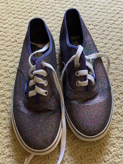 Zapatillas Vans Originales Con Glitter Violeta Talle 4 Kids