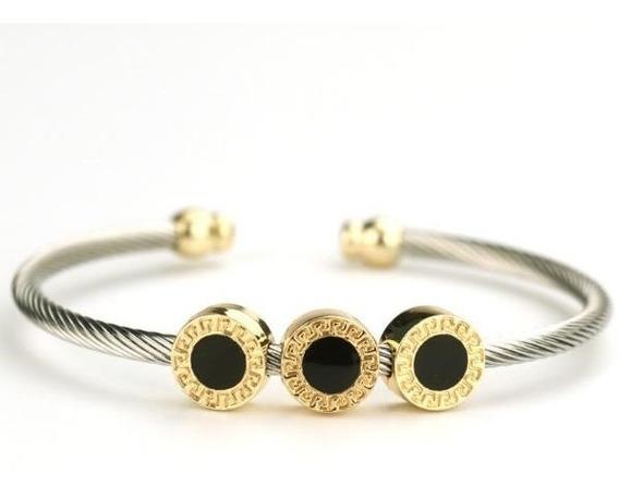 Pulseira De Aço Inox Feminina Banhados A Ouro 18k Bracelete