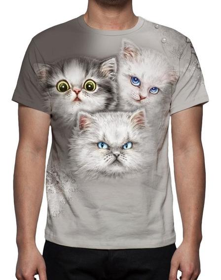 Camiseta Gatinhos Face - Estampa Total
