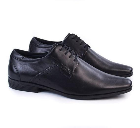 Sapato Masc 4304-281g Preto Cadarço Couro Ferracini 91561