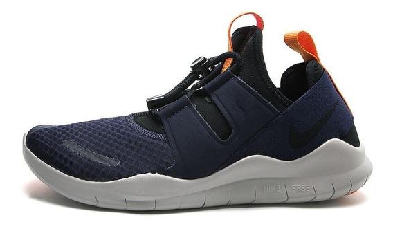 Tenis Running Azul-gris-naranja Nike Free Rn Cmtr (74v)