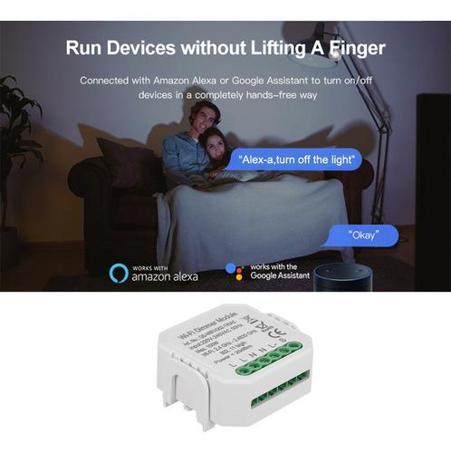 WOVELOT Inteligente Diy M/ódulo de Dimmer Interruptor de Luz Control Inal/ámbrico Automatizaci/ón Del Hogar Y Control de Voz Wifi Interruptor de Regulador de Intensidad 110-240V