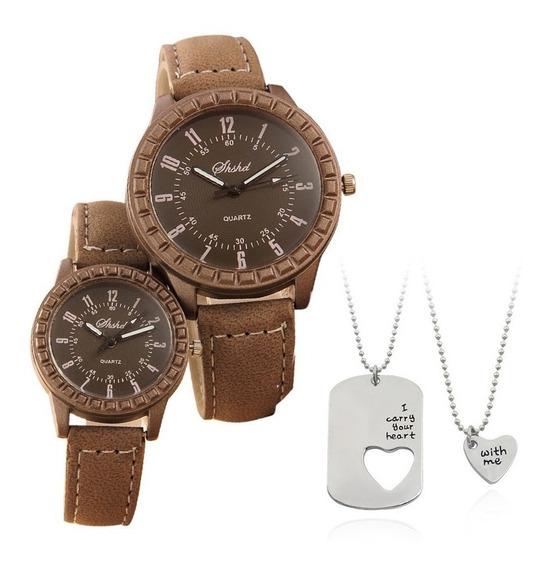 Kit Relógios Namorados Casal Cordão Com Pingente