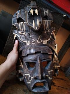 Máscara Maya Antigua Inca Tallado En Madera