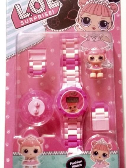 Relógio Infantil Digital Lol + Bonequinha Lego Da Lol