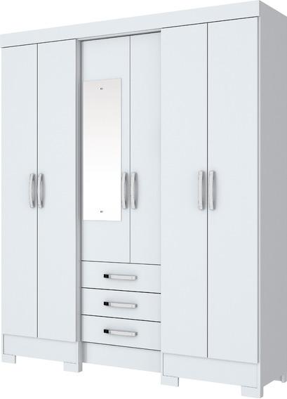 Guarda-roupa Casal B23 6pts E 3gav E Espelho Branco(i)