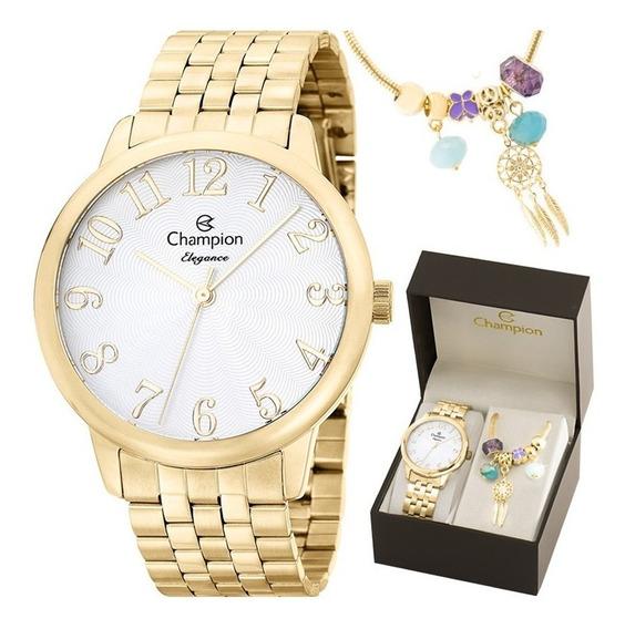 Kit Relógio Champion Feminino Com Pulseira Cn26162s