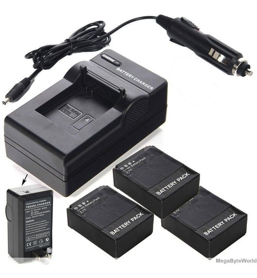 Lote 3 Baterias Ahdbt-302 Gopro Hero 3 + 1 Carregador Go Pro