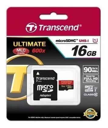Memória Micro Sd 16gb 90 Mb/s Ultimate 600x Transcend - Novo
