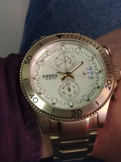 Relógio Fossil Ch2974 Dourado Original Cronógrafo