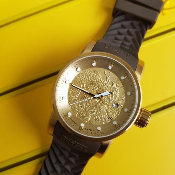 Relógio Invicta 12790 S1 Rally Dragon Yakuza Dourado /marrom