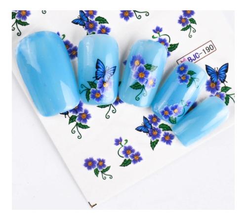 55 Tatuajes Sticker Agua De Uñas Variado Flores Brillantes