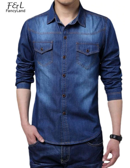 Kit - 2 Camisas Jeans Moda Slim Fit Importada Manga Longa