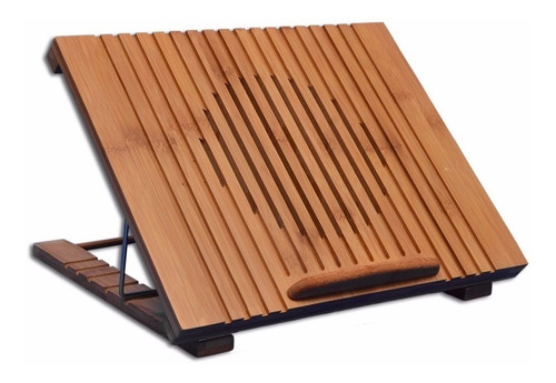Imagen 1 de 9 de Mesa De Bambu Portátil Laptop Ventilador Base Enfriadora